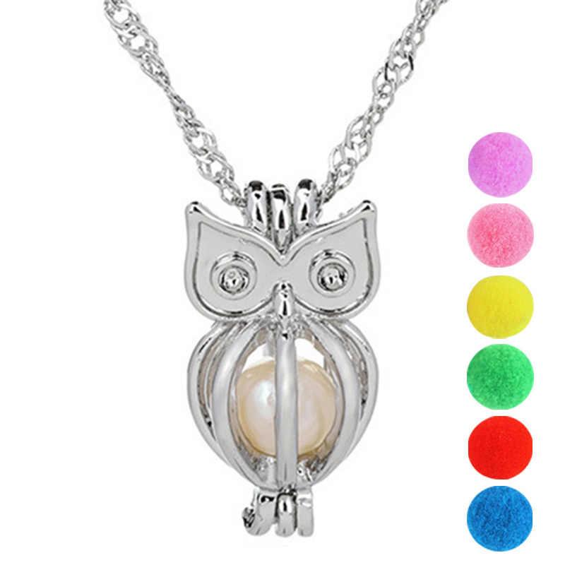 Кулон с совой клеткой груши аксессуары эфирные масла медальон со светорассеивателем для ночного светящегося шара устричная жемчужина Женская девочка
