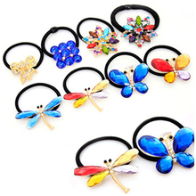 New Brand Multicolor Crystal Bows Flower Butterfly Elastic Rubber Band Headwear Hair Accessories