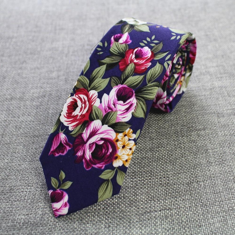 RBOCOTT Retro Floral Ties Paisley Tie 6cm Cotton Ties For Men Fashion Casual Slim Neckties Skinny Ties For Wedding Party Suit