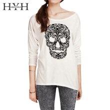 HYH Haoyihui Woman Skull Print White T-shirt Casual Regular O Neck Long Sleeve T-shirt 2018 New Fashion Summer T-shirt abstract print casual long sleeve t shirt