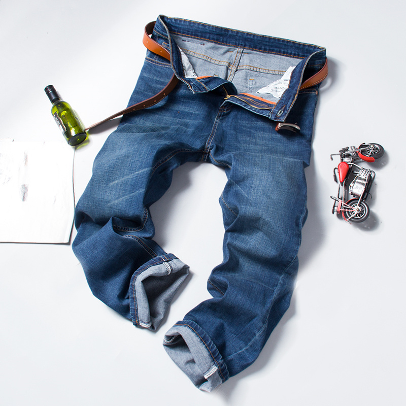 Man Straight Regular Denim Pant Blue Washed Men Casual Big Trousers Business Style Clothing Fashion Male Jeans in Jeans from Men 39 s Clothing