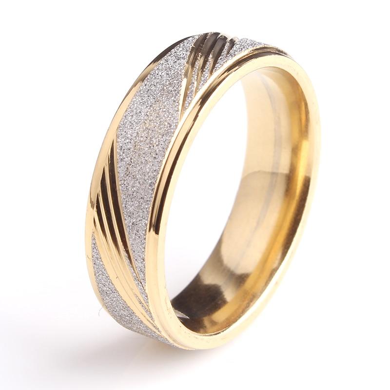 6 мм Золотой Косой тремя полосками скраб 316L Нержавеющая сталь обручальные  кольца для мужчин и женщин оптовая продажа 90db6407f65