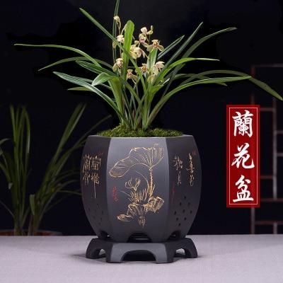 Fine Purple Sand Flower Pot Simple Orchid flower Pots Mouth Six Bonsai Pot High Foot Plant Zisha Ceramic black basin