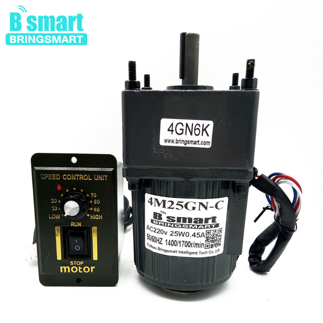 Bringsmart 4M25GN-C 220V AC Geared Motor+Speed Controller Speed Regulation Reversible Reducer Motor Single-phase Slow Speed