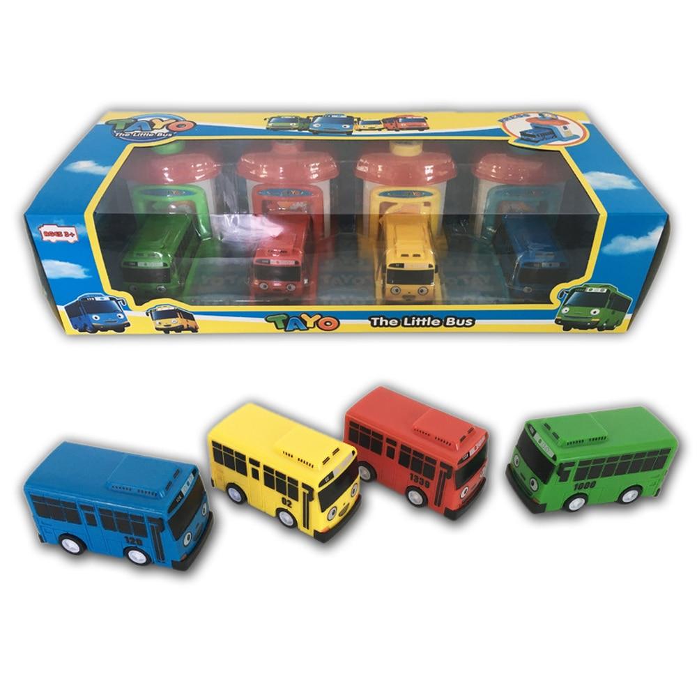 Coreano 4 pz/set Bilancia modello bus tayo il piccolo bus per bambini in miniatura di plastica del bambino oyuncak garage tayo bus giocattoli per bambini di natale