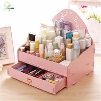 YIHONG Fashion Desktop Cosmetic Women DIY Storage Boxes Lovely Gril Organizer Make Up Lipstick Storage Powder Box