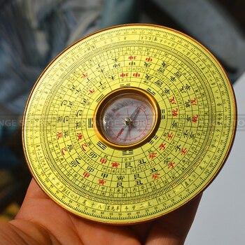 Fengshui chinês antigo resina luopan bússola coppery superfície luo jing yi elaborado luo pan 10cm