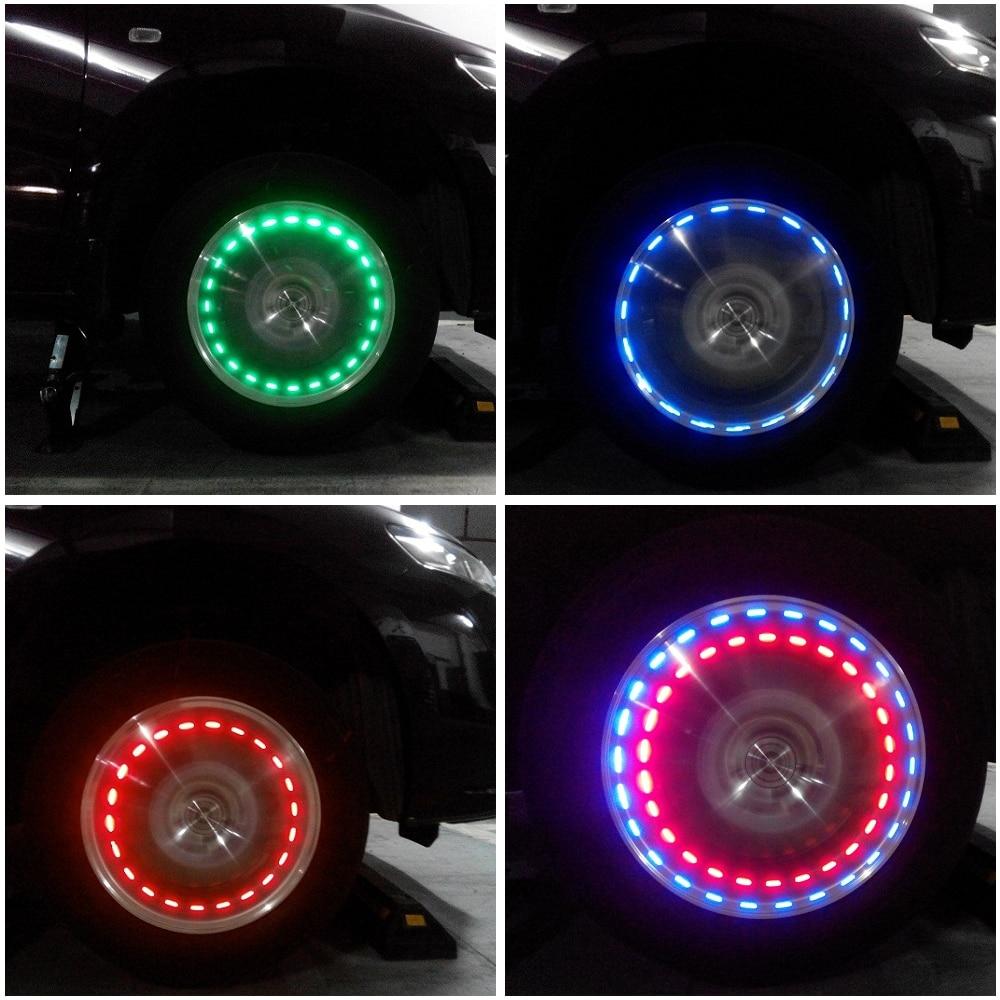 Car Styling Solar LED Light Car Wheels Decor Lamp Auto
