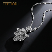 FEEROW Top Quality Tiny Cubic Zircon Necklace Pendants Popular Stackable Jewelry For Women Bridesmaid FWNP019