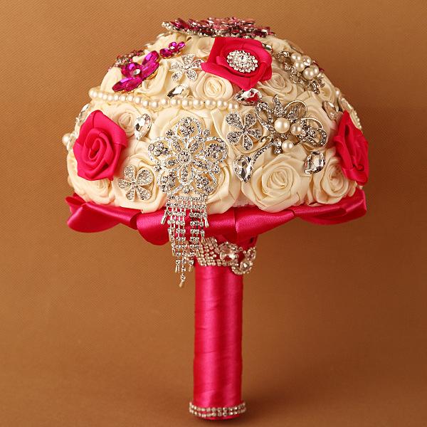Estilo europeo de Lujo de La Boda Estudio Fotográfico de Boda Novia Con Flores Damas de Honor Con Flores Hechas A Mano Que Sostiene Las Flores