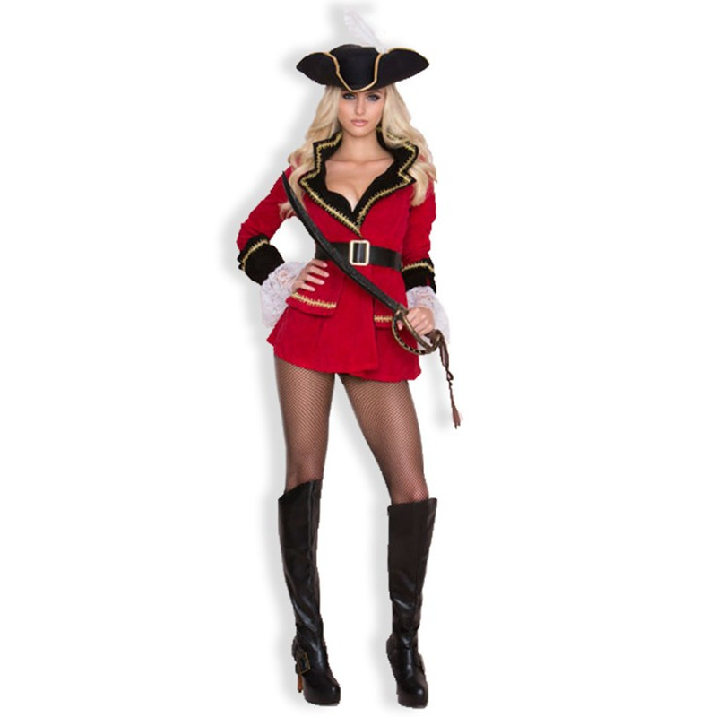 Halloween Women Pirate Costum Fancy Party Dress Carnival Performance Adult Pirate Warrior Cosplay Dress(no pants and socks)