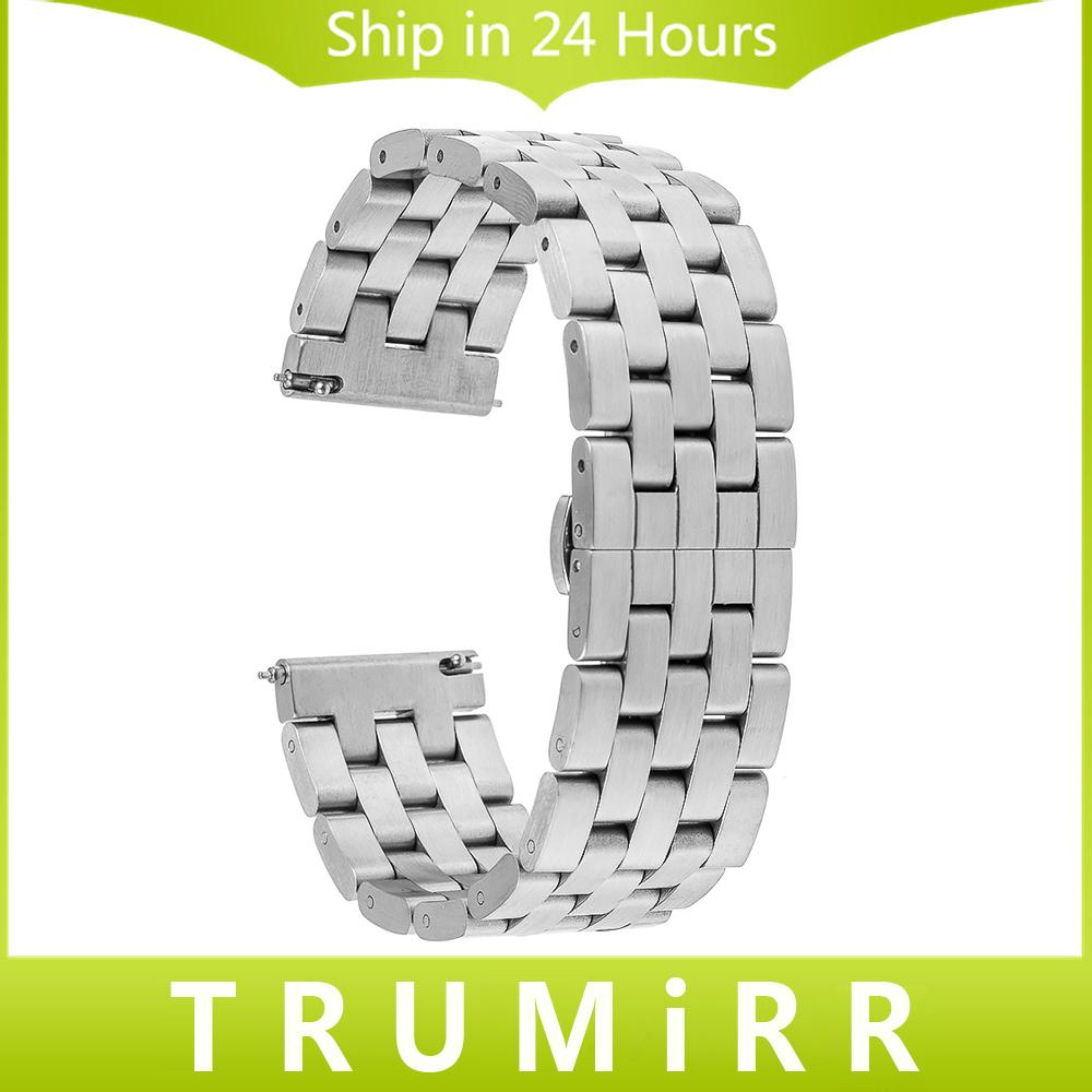 Prix pour 22mm Libération Rapide Montre Bande pour LG G Watch W100 W110 urbain W150 ASUS Zenwatch 2 Pebble Temps Bracelet En Acier Inoxydable Bracelet