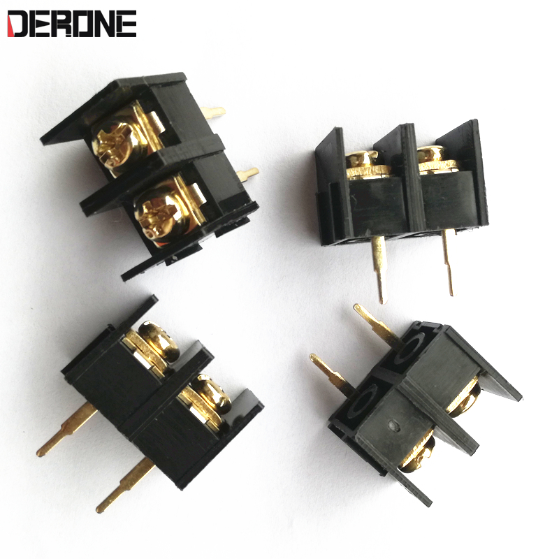 4 Piece Connector 2 Pin 10mm Gold Plated 2-way Screw Connector  For Amplifier Board