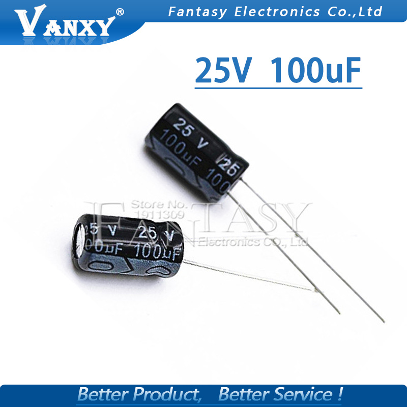 50PCS Higt Quality 25V100UF 6*7mm 100UF 6.3*7 25V Electrolytic Capacitor