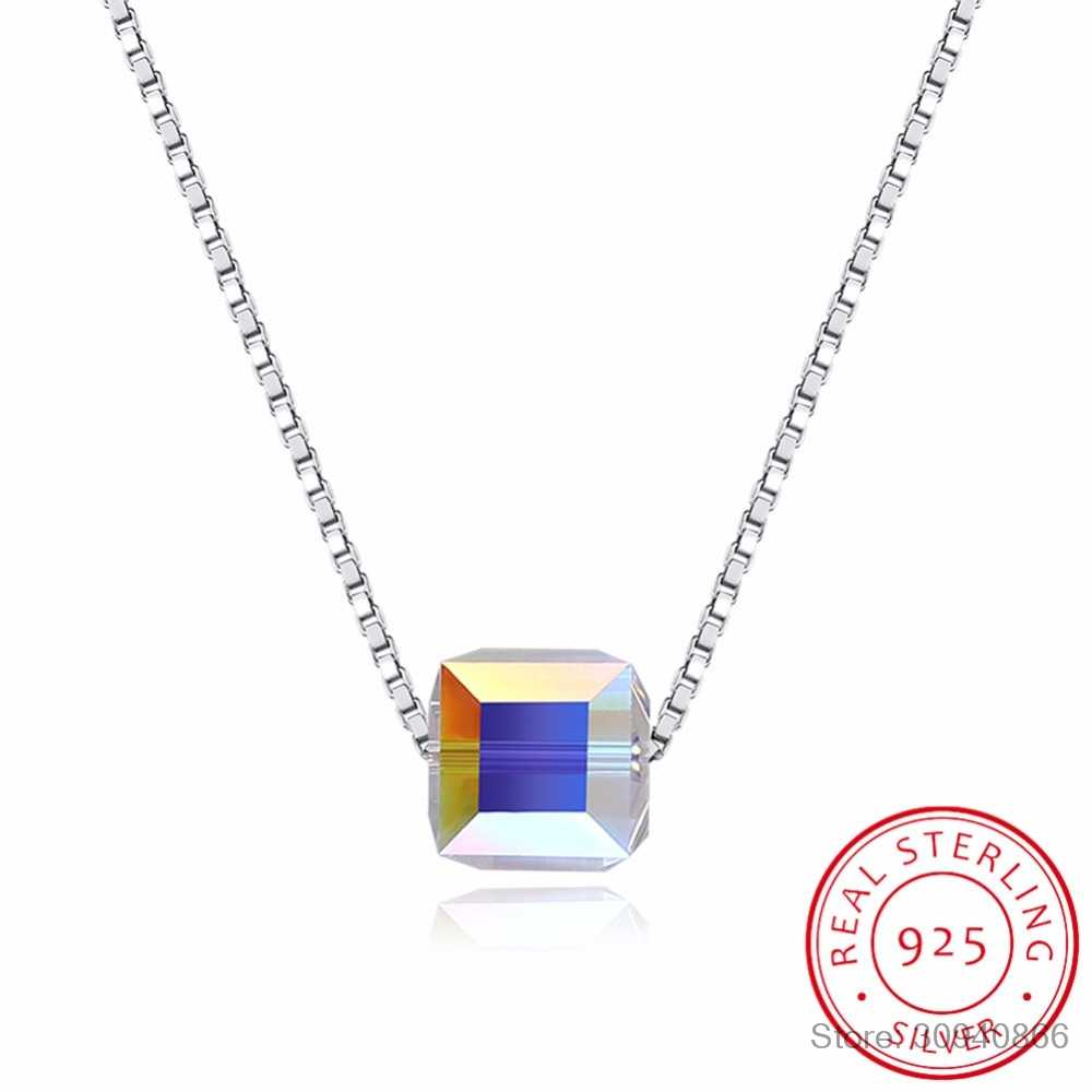 LEKANI S925 crystal Swarovsk Elements Square sterling silver CZ Pendant Necklace For Women Ladies Lover Valentine's Day Gifts