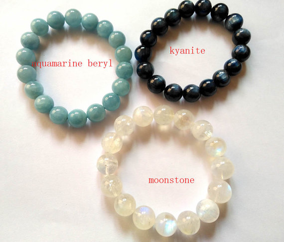 wholesale 3strands 9-10mm Genuine moonstone Bracelet kaynite stone aquamarine beryl bead Round Ball charm bracelet