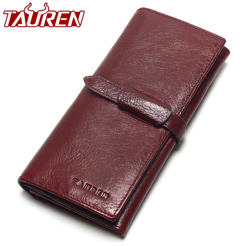Tauren Retro Wine Red Color Wallets 100% Genuine Cowhide Leather High Quality Women Long Wallet Coin Purse Vintage Designer Male new luxury brand 100% top genuine cowhide leather high quality men long wallet coin purse vintage designer male carteira wallets