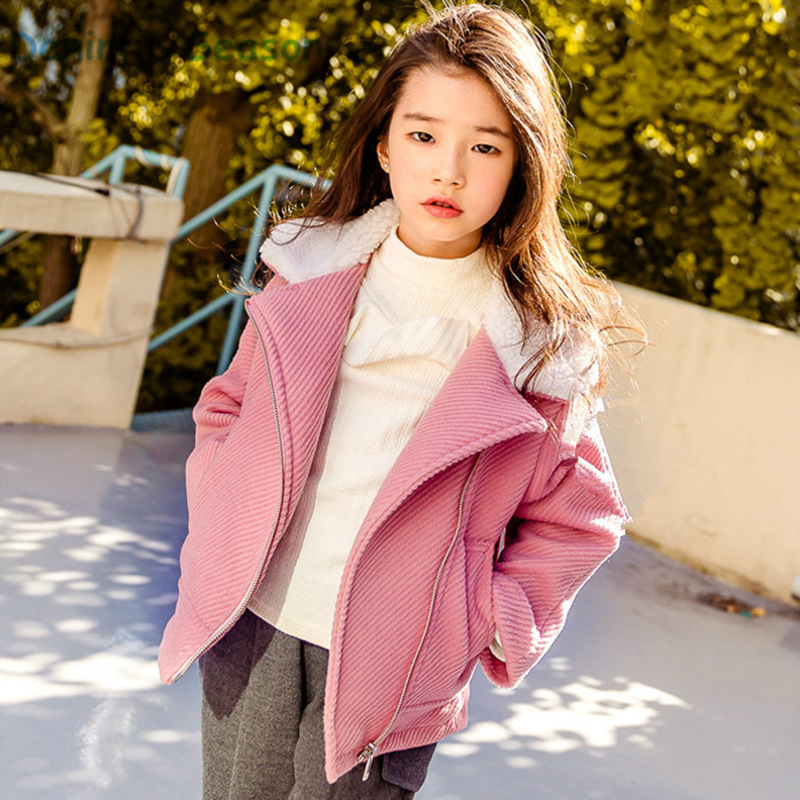DenimSeason 2017 Kids Winter Jacket Girls Winter Coat Fur Collar Wool Parkas For Girls Clothes Wool Coat For Girls Kids Jacket 2017 children wool fur coat winter warm natural 100% wool long stlye solid suit collar clothing for boys girls full jacket t021