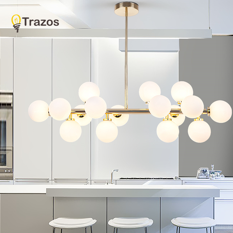 Luxury LED Chandeliers Art Deco Gold Chandelier Pendant For Living Room Kitchen Nordic Industrial Glass Room Lighting Lampadario