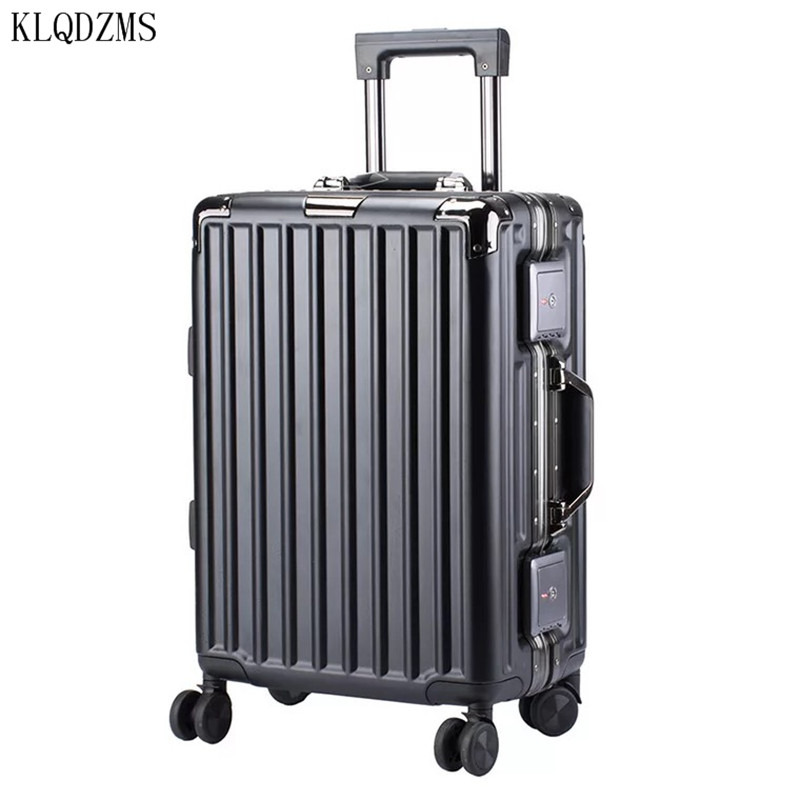 KLQDZMS 20/24Inch High Quality  Aluminum Frame Travel Suitcase Men Business  Rolling Luggage Spinner Women Trolley Bags On Wh