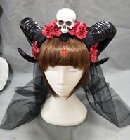 Horn Headband Gothic Lolita Devil Floral Horns Headpieces Halloween Skull Veil Headdress Cosplay Hair Accessories