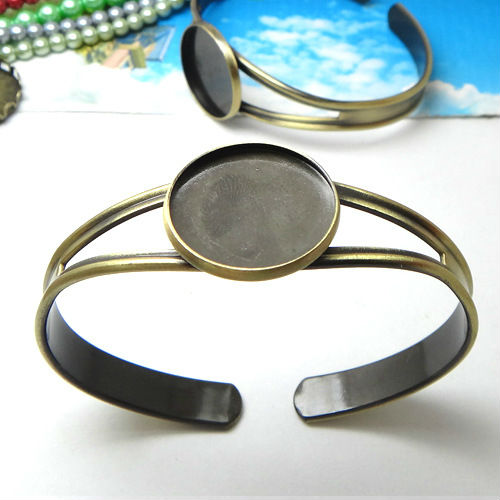 2pcs 20mm Min OrderWholesale ANTIQUE BRONZE Cabochon Setting Disc Adjustable Cuff Bangle and Bracelets Blank Jewelry Settings ...