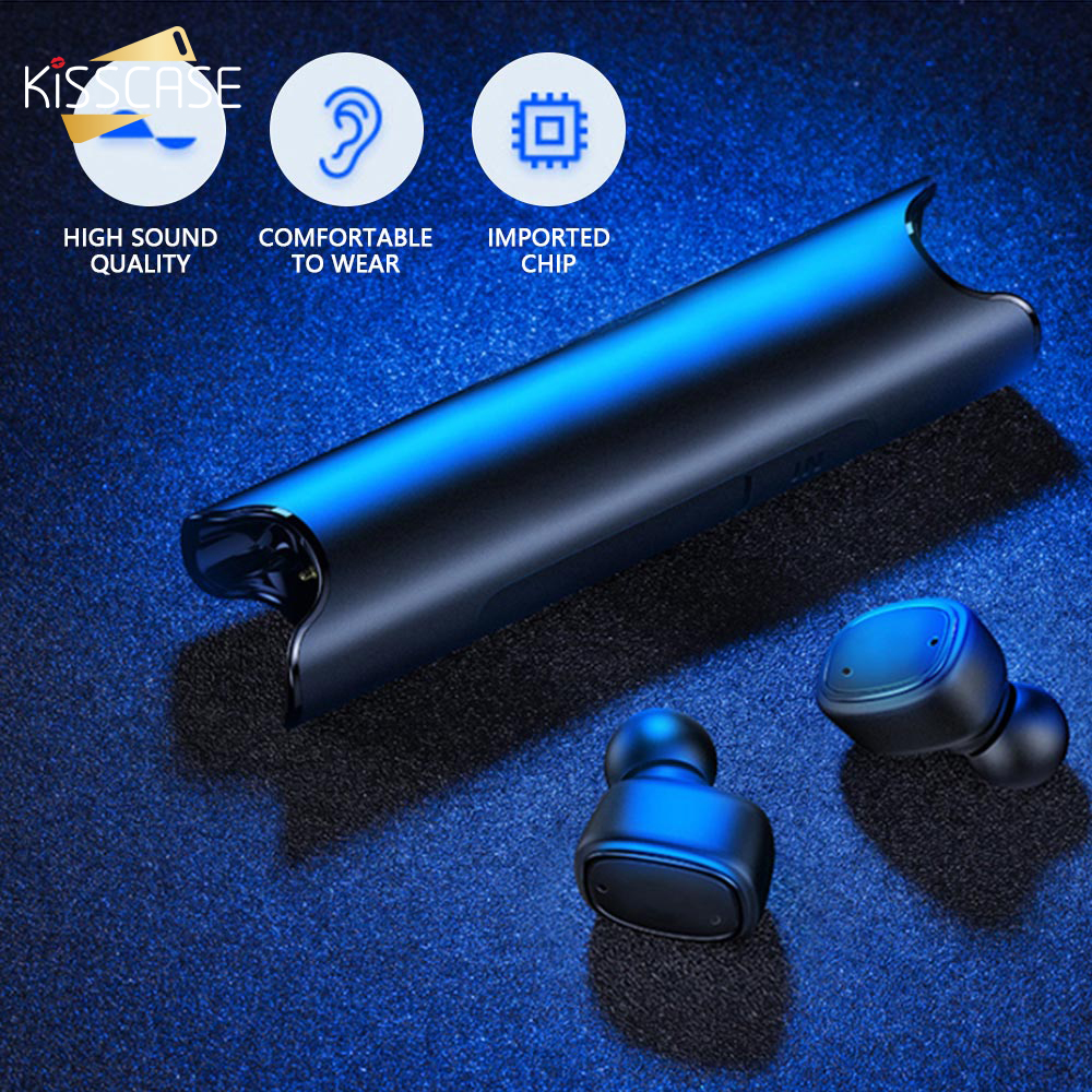 KISSCASE TWS Dual Wireless Bluetooth Earphone Headset With Magnetic Charging Box Waterproof 3D Stereo Sound Earbuds Headphone