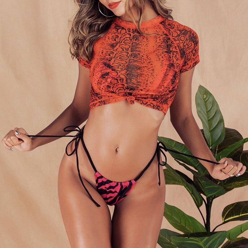 HTB1YIlTdA9E3KVjSZFGq6A19XXaV Brazilian bikini thong Micro print bikini Neon swimwear women 2019 bathers Push up 3 piece swimsuit female string bathing suit