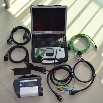 mb star diagnostic system c4 with laptop cf30 ram 4g newest software hdd 320gb full set ready to use for cars and trucks scanner