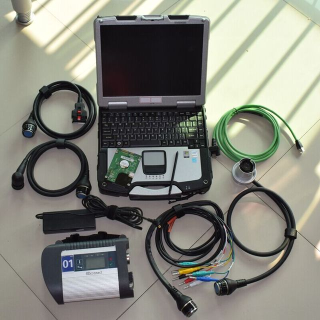 Flash Promo mb star diagnostic system c4 with laptop cf30 ram 4g newest software hdd 320gb full set ready to use for cars and trucks scanner