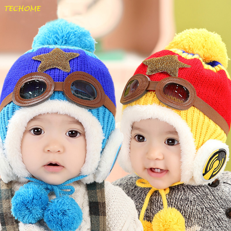 Lovely Winter Baby Cap Toddlers Warm Hat Beanie Cool Baby Boy Girl Kids Infant Winter Pilot Cap Children Kids Hat For 5-30 Month kids baby winter rabbit ear hats lovely infant toddler girl boy beanie cap warm baby hat hooded knitted scarf set earflap caps