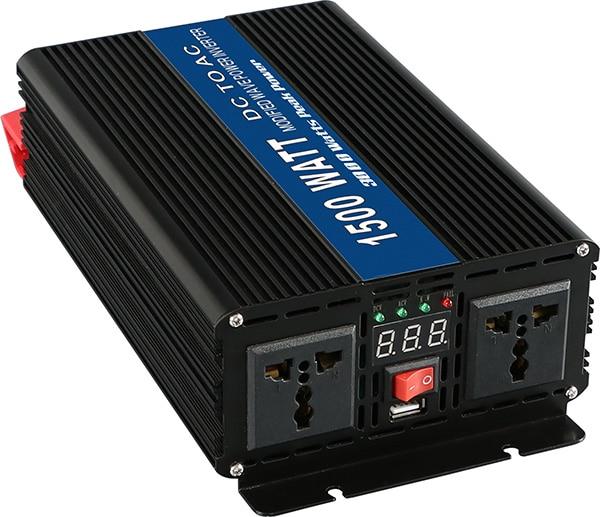 12VDC 1500W Modified Sine Wave AC 110V or 220V  Car Power Inverter Converter Power Solar inverters Off Grid Tie System maylar 22 60vdc 300w dc to ac solar grid tie power inverter output 90 260vac 50hz 60hz