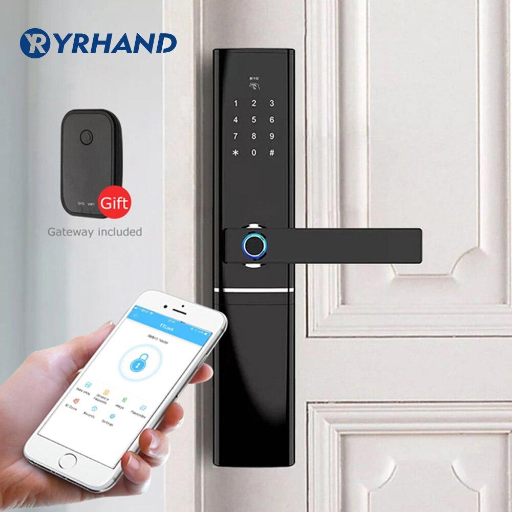 Serrure de porte WiFi empreinte digitale, serrure de porte électronique étanche serrure de porte biométrique intelligente serrure d'empreinte digitale intelligente avec passerelle