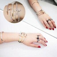 Titanium Crystal Nail Bracelet Lover Bracelet For Women Screw Cuff Bracelets Bangles Manchette Jewelry Pulseiras A0032