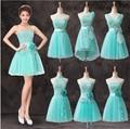 Querida Curto Vestido Da Dama de honra com Laço apliques 2017 Ice Blue vestido de Baile Vestido de Festa Estilo A-F