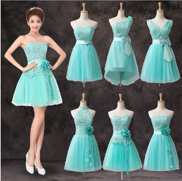 Sweetheart Short Bridesmaid Dress with Lace appliques 2017 Ice Blue ...