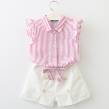Bear Leader Sleeveless Summer Style Baby Girls Shirt +Shorts + Belt 3pcs Suit