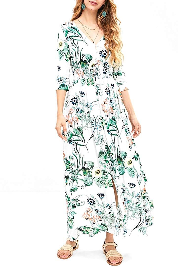 Befily longue robe Maxi pour femmes Floral 3/4 manches bouton avant robe