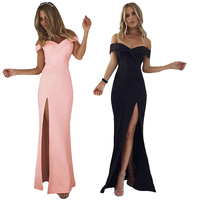 2017 Summer Fashion Women Sexy Robe Cute Off Shoulder Sleeveless Sloid Color Long Party Dresses Split