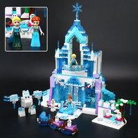 731 Pcs Lepin 25002 Anna Elsa Snow Queen Elsa S Sparkling Ice Castle Building Blocks Brick