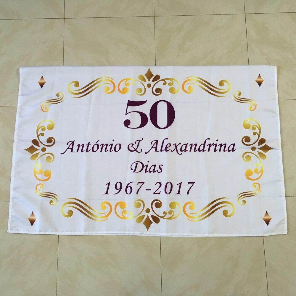 Kişiselleştirilmiş Qızıl 50 Toy ildönümü Casamento Decoracao - Ev tekstil - Fotoqrafiya 3