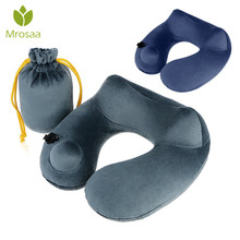 Hot Push-Button Inflatable Neck Pillow with Airplane Travel Packsack Folding Pillow Travel Neck Pillow for Office Flight Pillows