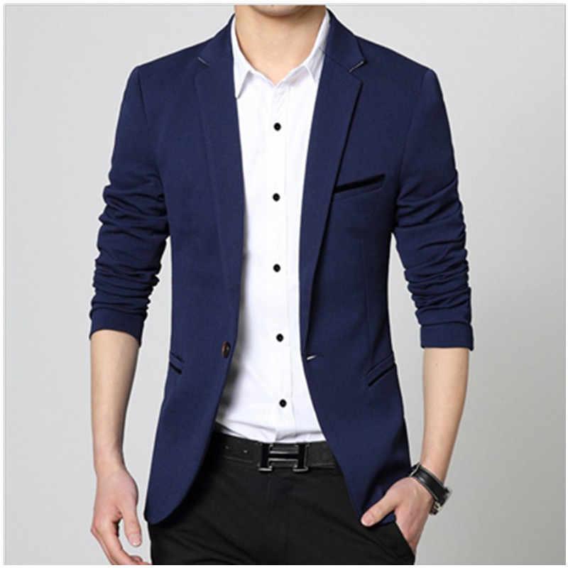 GEJIAN Artı Boyutu Erkek Blazer Moda Katı Slim Fit Takım Elbise Ceket 2019 Bahar Erkek Uzun Kollu Tek Düğme Casual Blazer erkekler için