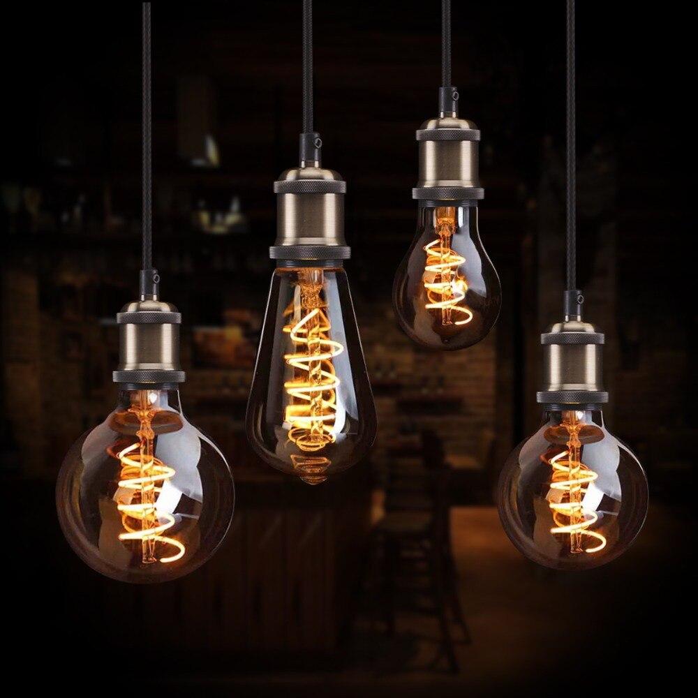 COB LED Filament Edison ampoules Décoratif Edison lampe E27 110 V 220 V A60 ST64 G80 G95 G125 Remplacer Vintage À Incandescence ampoule