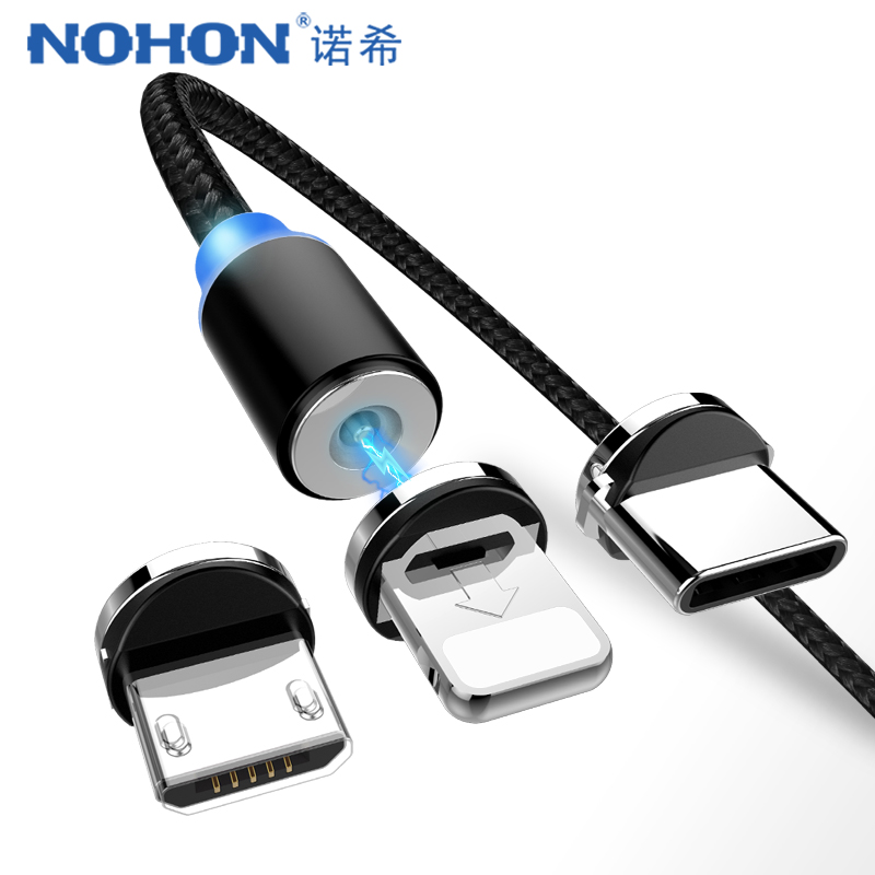new product 4d6df 64925 US $0.55 20% OFF|NOHON Magnetic Charger Cables Micro USB Type C 8 Pin For  iPhone XS MAX XR X 7 8 6 Plus Charging Cable For Samsung S8 Note 9 8 1M-in  ...