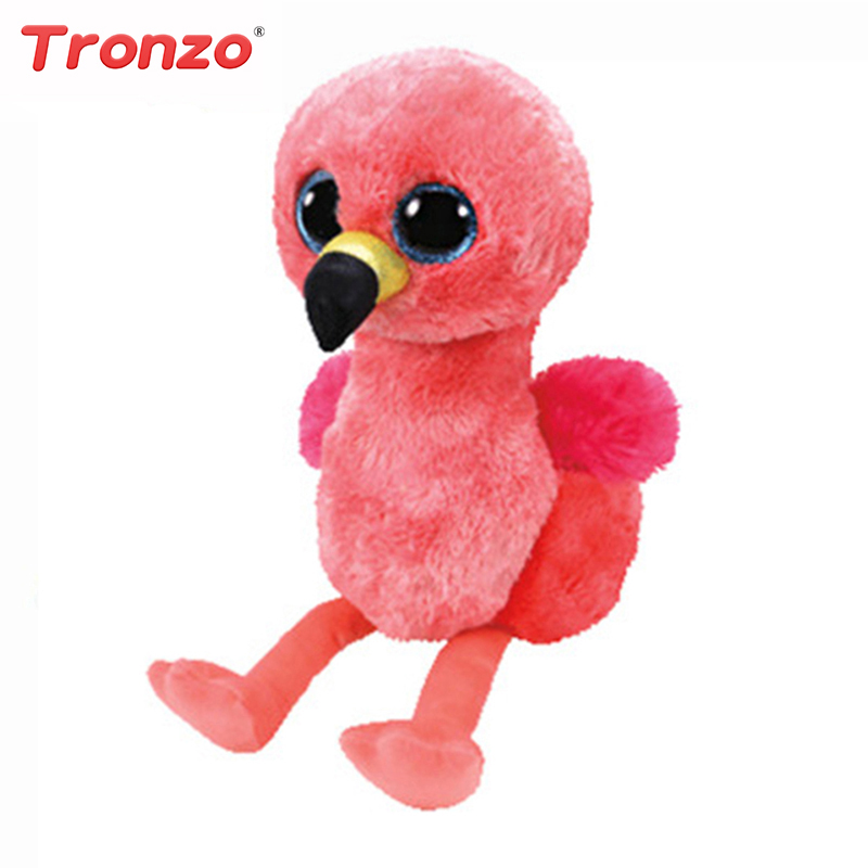 Tronzo 1Pcs Ty Beanie Boos 6 15cm Gilda the Flamingo Bird Plush Stuffed Animal Collectible Soft Big Eyes Plush Doll Toy ty frizzy домовёнок tang 15 см 37138