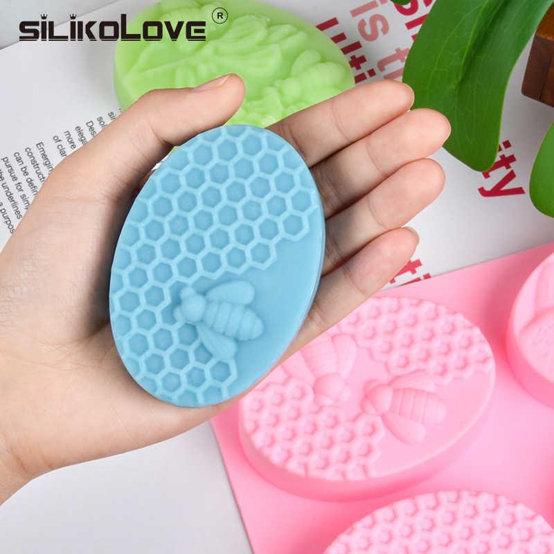 SILIKOLOVE из 2 предметов силиконовые мыло формы для мыла 3D Овальный Прямоугольник мыло с изображением пчелы Плесень ручной Craft Ванная комната Кухня мыло формы
