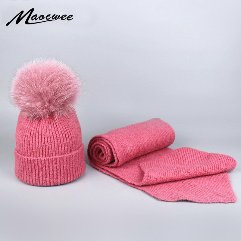 Girl Skullies Beanies Winter Hats for Women Knitting real fox fur ball Cap Hat Pompoms Ball Warm Brand Gorros Thick Scarf