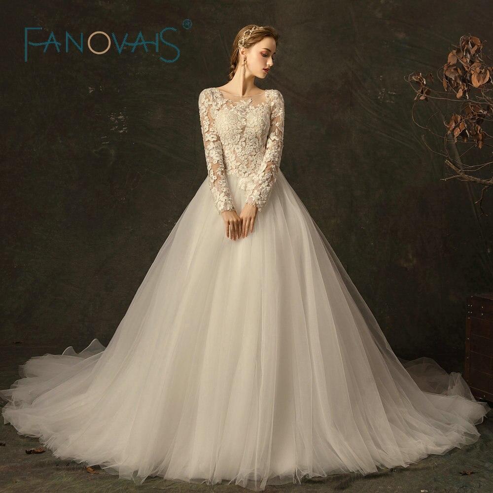 2019 Long Sleeve Lace Wedding Dress Bridal Gown Princess Vestido De Noiva  Women White Lace Gown 5d5c503c8365