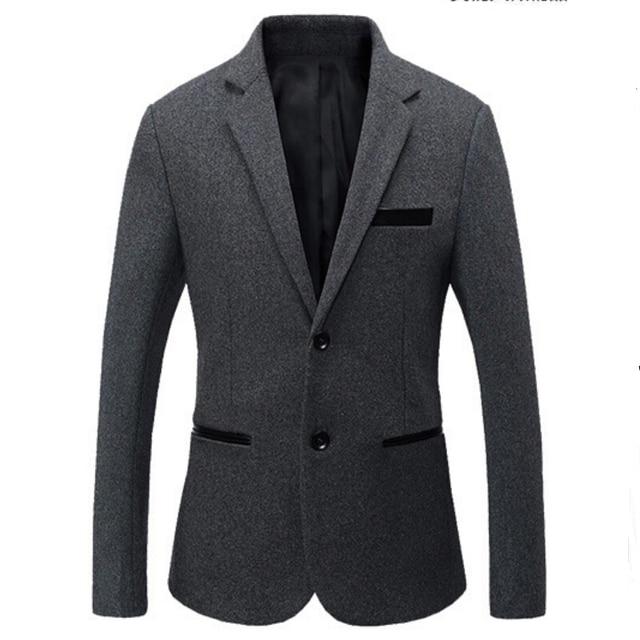 Venta caliente 2016 Nuevo Sping Marca de Moda Gris Chaqueta de Los Hombres Traje Casual Splice chaqueta de Los Hombres Slim Fit Trajes de Dos Botones de Los Hombres de Los Hombres 6XL